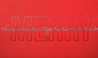 Sonderanfertigung weihnachtskarte rot silberpr gung for Weihnachtskarte englisch
